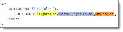 advanced custom rule with multiple variables light bulb color